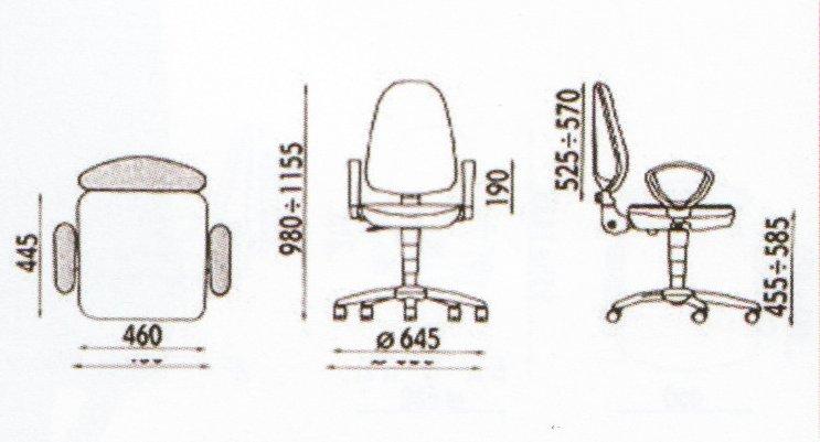 Schita scaun ergonomic cu brate - dimensiunii
